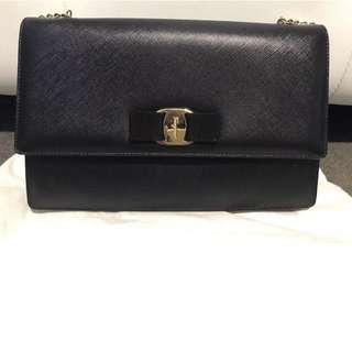 Authentic Salvatore Ferragamo Ginny Sling Crossbody Bag / Clutch