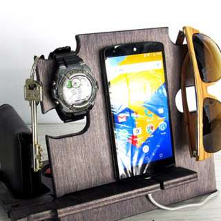 Accessories Docking Station: Italian Wood Craft. Gift for Men