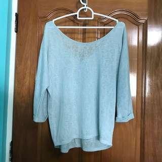 Stradivarius sky blue knit pullover