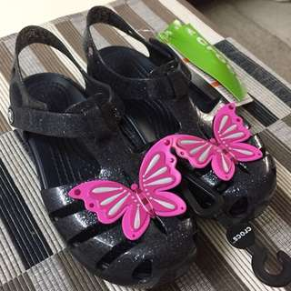 [NEW] Crocs glittered rubber sandals with butterfly for kids