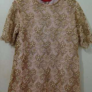 Blouse Kebaya Brokat Gold Pink