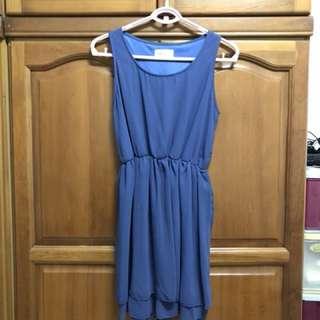 寶藍色無袖雪紡洋裝 喜宴 謝師宴