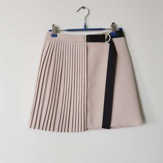 Half pleated Nude A-Lined skirt