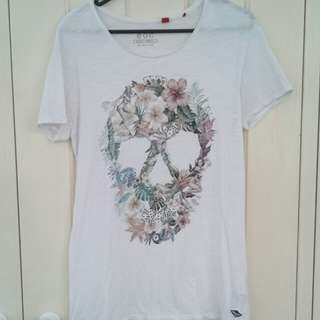 EDC Floral Skull Tee Size S