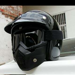 Shark inspired half face helmet with mask
