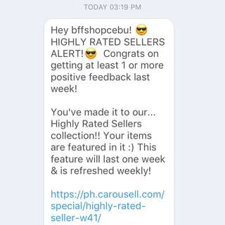 Yay! Highly Rated Seller Again!