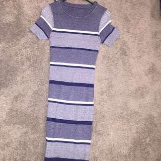 Universal store knit body con dress stripped