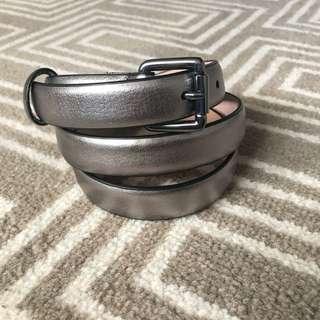 Saba Womens Leather metallic pewter belt