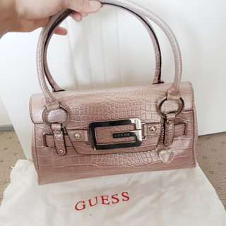 Guess pink crocodile skin handbag