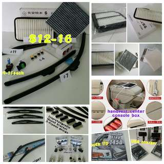 SUZUKI engine air filter, cabin filter, front & rear wiper, armrest console box, visor, SUB adapter, bumper & boot lip