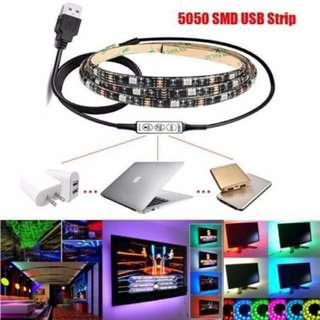Multi-colour RGB LED Strip Light USB Cable LED TV Background Lighting Kit
