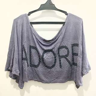 "❤️PRELOVED ""ADORE"" Gray Crop Top❤️"
