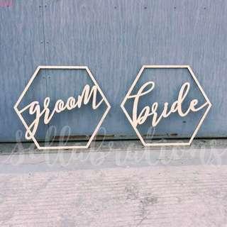 [Sellabrations] Bride & Groom Hexagon Wood ROM Chair Sigm Wedding