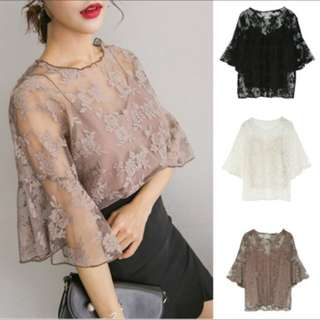 Sheer lace top embroidered short sleeve