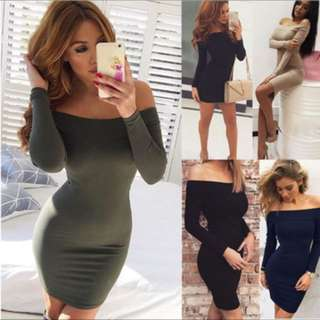 Women bodycon plain dress