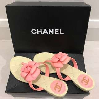 Authentic Chanel camellia flower flip flops