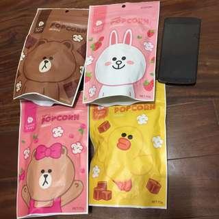 LINE FRIENDS 台灣限定 爆米花 CANDY POPPY  熊大 兔兔 莎莉