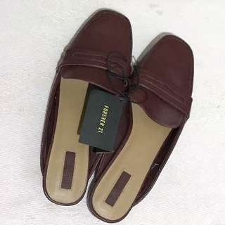 Forever 21 Burgundy Slip-on Sandals