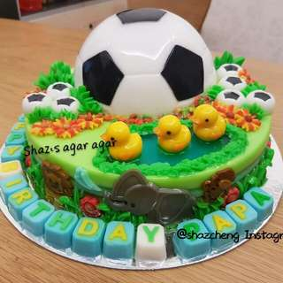 Soccer Animal Theme Agar Agar Birthday Cake