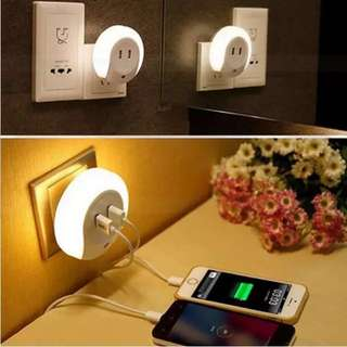 Automatic Sensor Night Light USB port Adaptor Charger for Andriod Mobile Cellphone Apple Iphone