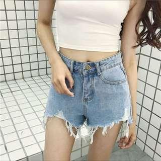 牛仔短褲 L