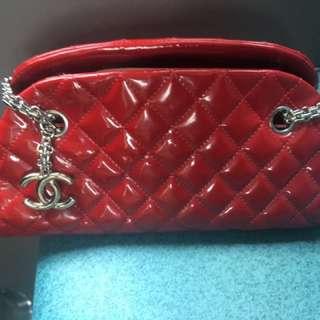 Chanel 紅色 漆皮 袋 red patent shoulder bag enamel