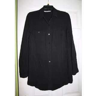 Long Black Blouse w/ Roll-Up Sleeves, M, BLUENOTES