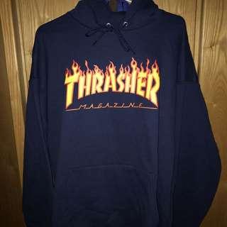 Thrasher flame hoodie深藍