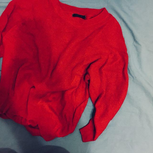 日雜豬肝紅針織長袖上衣