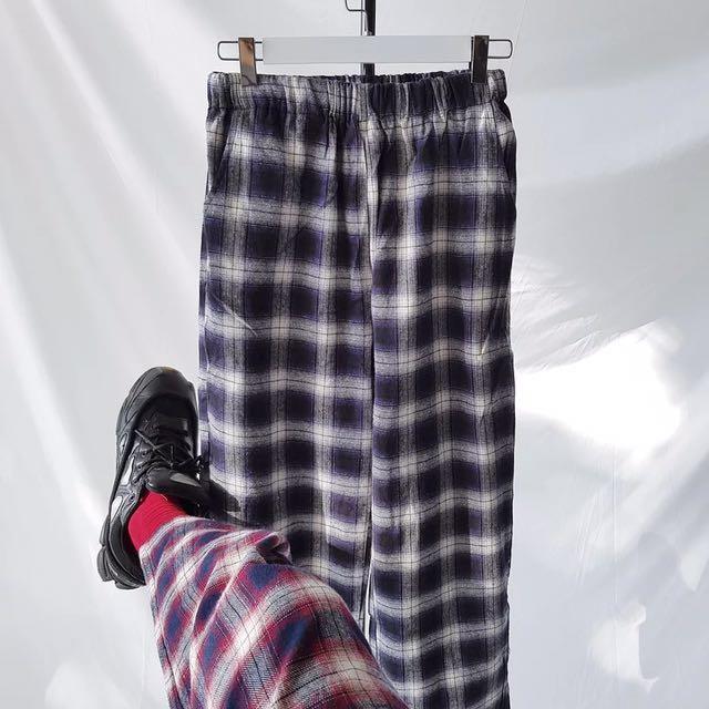 😈復古格紋休閒寬褲😈