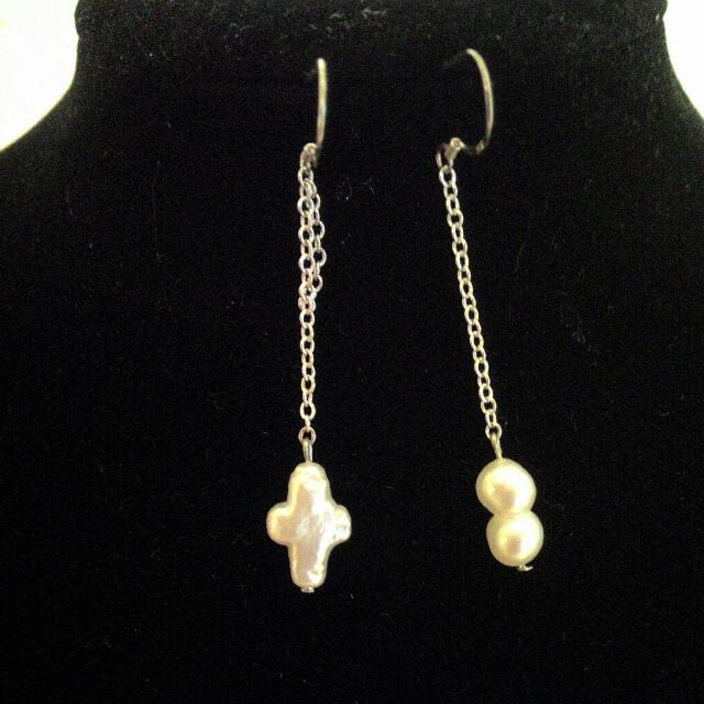 天然異形珍珠耳環