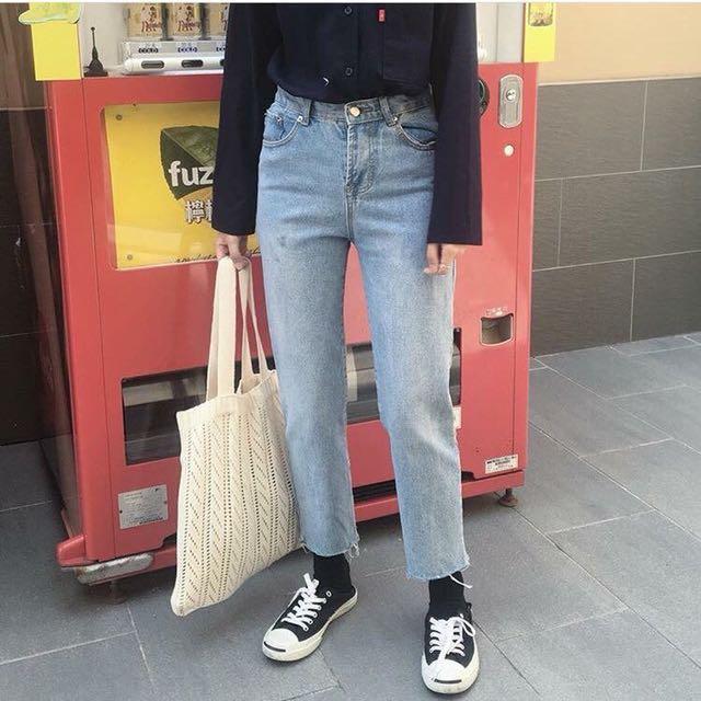 秋款淺藍下鬚直版褲