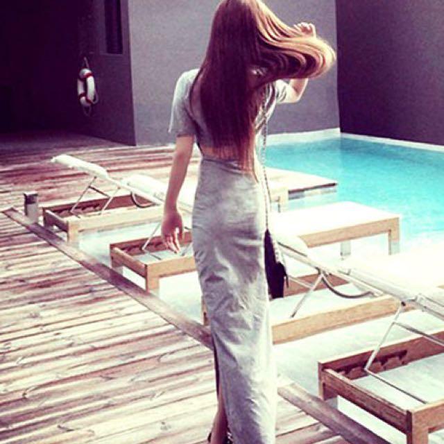 性感摟空美背渡假風修身長洋裝