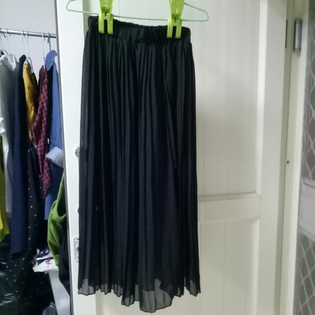 雪紡百折黑長裙