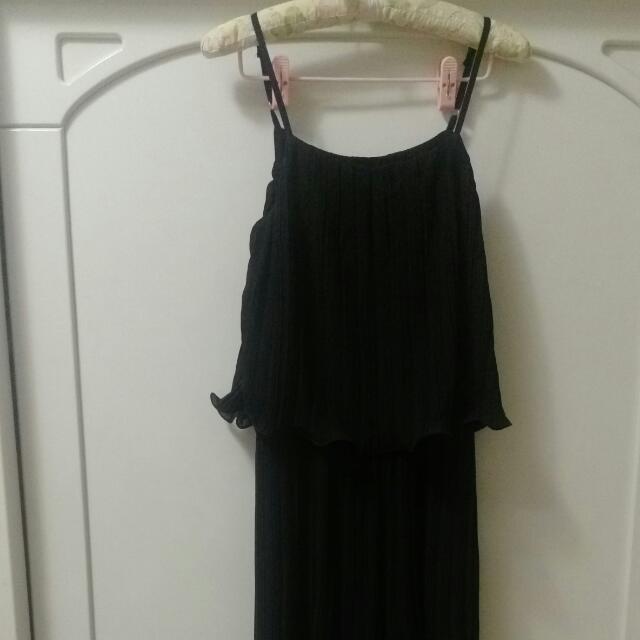 黑色細肩帶雪紡紗連身褲裙