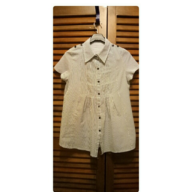 藍白條紋中長版襯衫