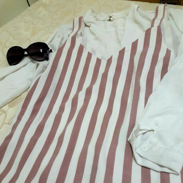 #甩賣 粉色條紋吊帶裙