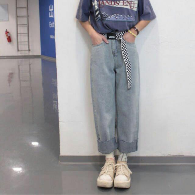 復古 直筒 牛仔寬褲