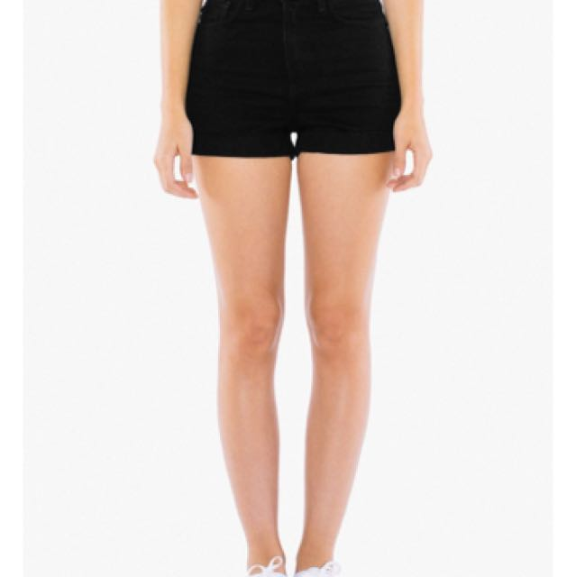 American Apparel Denim High Waist shorts in black size 26/27