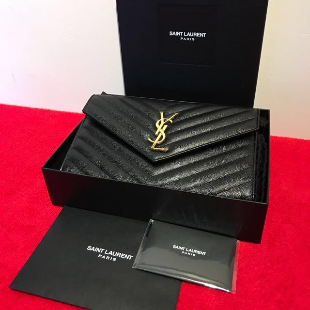 6dca3d634b Authentic Brand New YSL Yves Saint Laurent Wallet WOC Black Leather with  GHW, Luxury, Bags & Wallets on Carousell
