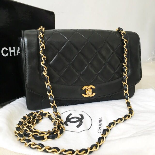 ea33fb18805d Authentic Chanel 10 Inch Lambskin Diana Flap Bag with 24k Gold Hardware,  Luxury, Bags & Wallets on Carousell