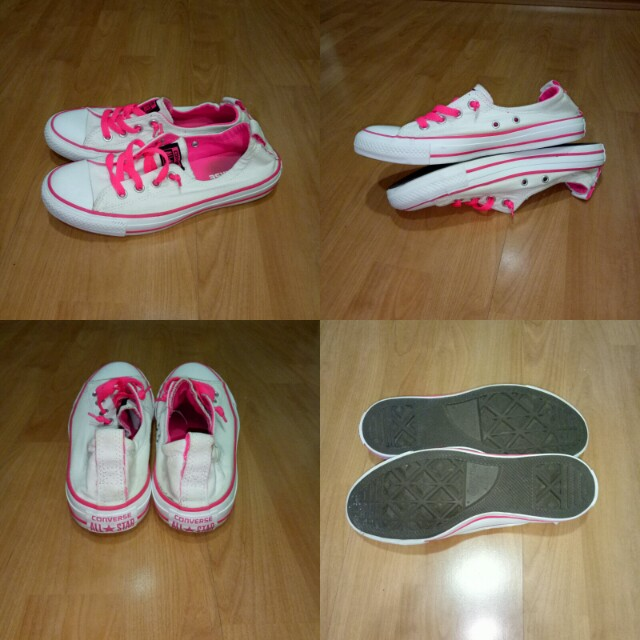 4faf1a87db4 Authentic Converse Chuck Taylor All Star Shoreline Slip-on Ox Women s  Athletic Shoes in White Pink