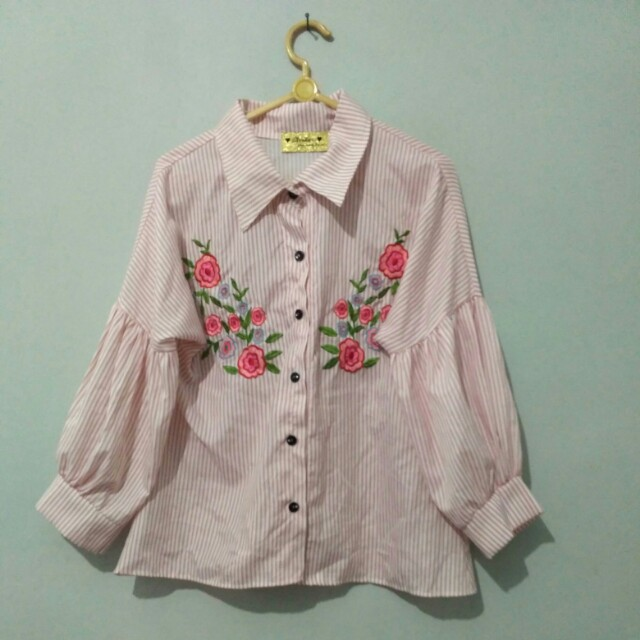 blouse pink striped baloon