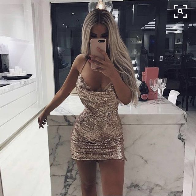 Bubbles dress in rose gold