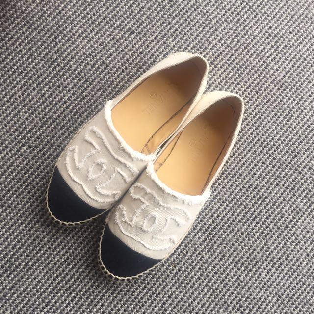 Chanel Beige Eapadrille Flat Slip on Shoes