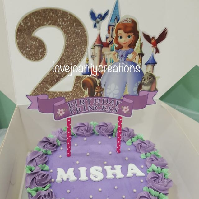 Customised Birthday Cake Name Topper Props Sofia The First Design
