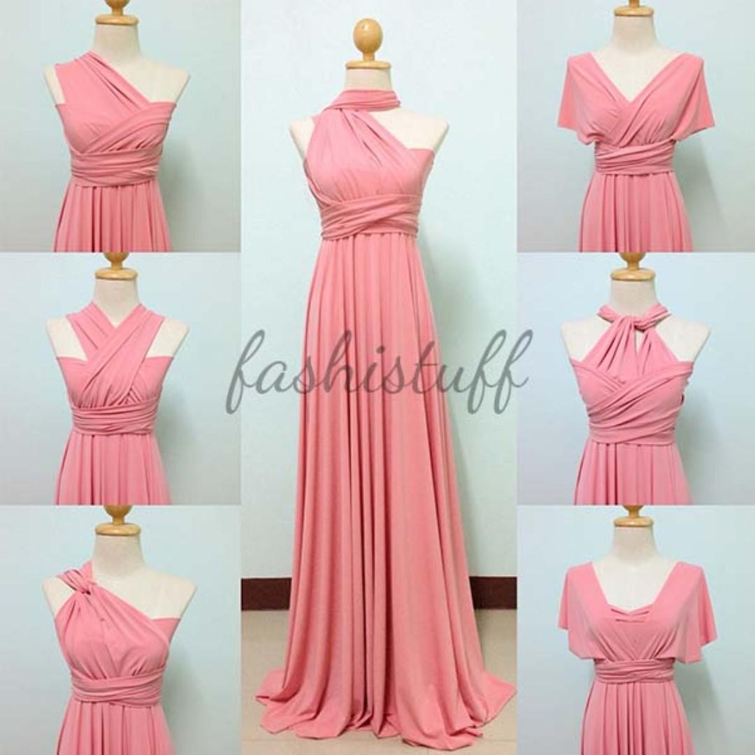 Dark Peach Infinity Dress Convertible Wrap Maxi Dress
