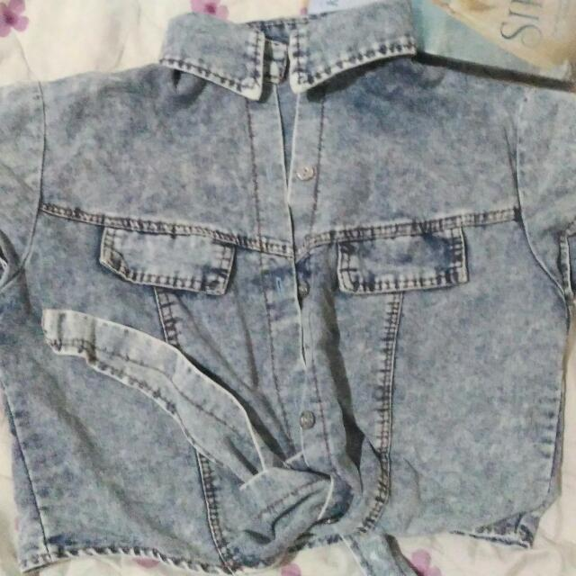 Denim Collared Button Up Croptop