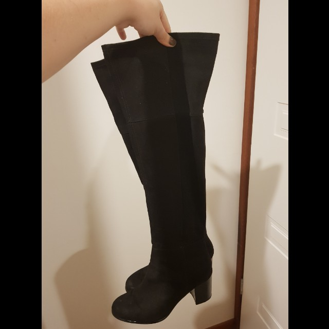 988b7670925b7 H&M Size 40 Black Thigh High Boots, Women's Fashion, Shoes on Carousell