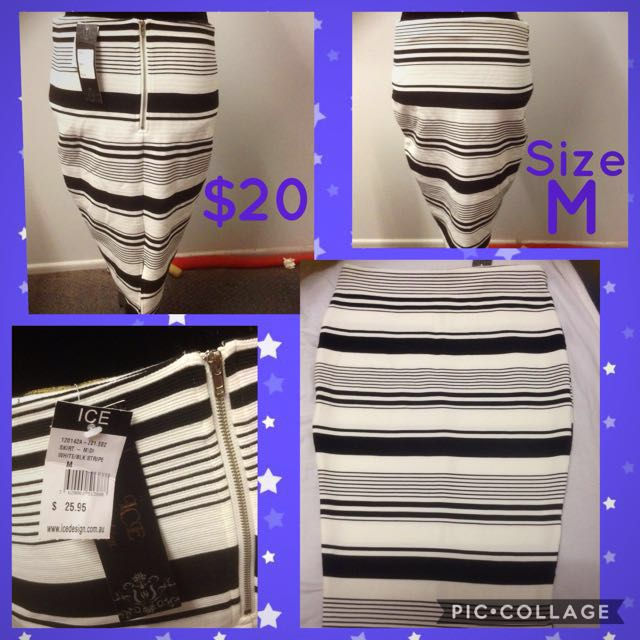 ICE Striped Bodycon Skirt Size M